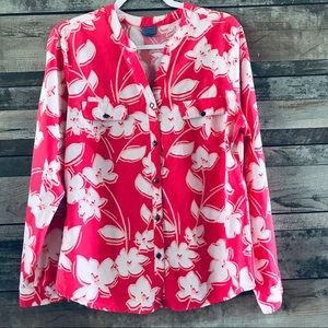 Laura Scott floral pink & white button front top